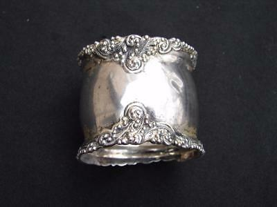 American sterling silver napkin ring with unusual art nouveau edges