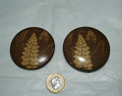 Mauchline Fern Ware Patch Box, Brown with Cream Leaves