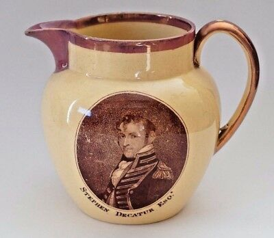 STEPHEN DECATUR Staffordshire HISTORICAL EARLY TRANSFER Naval Pitcher Canary