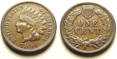 "Xf/au 1894 Indian Head Cent ""liberty!"" Key 1890's Date! Well Below Market!"