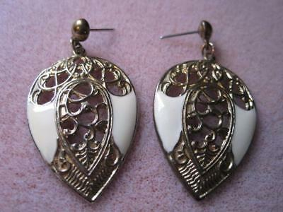 Vtg Large Ornate Tin Droplet Dangly Pierced Earrings with Creamy Enamel Sides