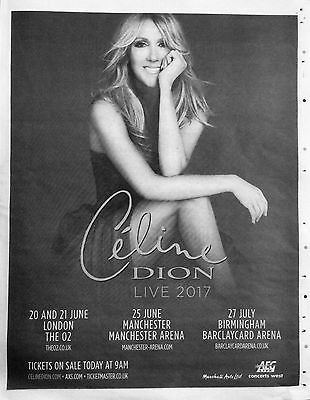 CELINE DION Full Page Concert Advert UK Metro Newspaper Clipping February 2017