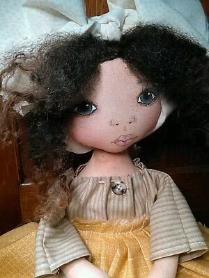 Primitive Folk Art Cloth Doll OOAK 13 Inches ~ Hand Painted~
