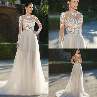Lace Nude Top Long Sleeves Bridal Gown Chiffon Wedding Dresses 6 8 10 12 14 16 +