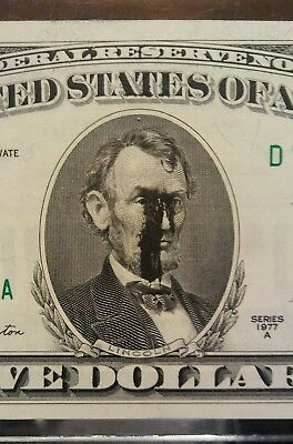ERROR $5 ink smear crying lincolns face choice uncirculated very interesting
