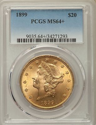 1899 Gold $20 Liberty Head Double Eagle PCGS MS64+ plus Pop only 55 Very Scarce!