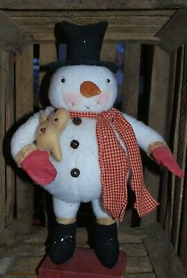 Primitive Chubby Snowman With Gingerbread Man **old Tattered Primitives**