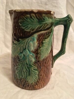 Antique Ceramic Pitcher Fir Tree Log Detailed Design