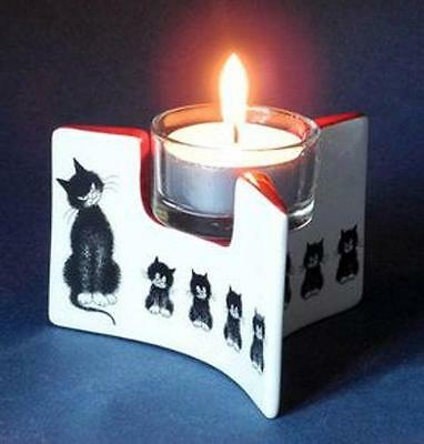 Albert Dubout Cat Cats In A Row L'alignment Ceramic Tealight Candle Holder New!