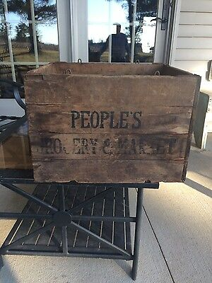Hubbard's  Wire Sewed Folding Box People's Grocery Market Vintage
