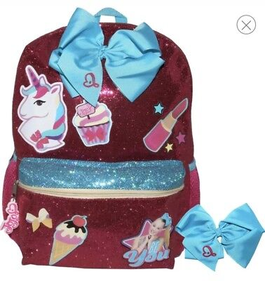 "Jojo Siwa Be You 16"" Kids' Girls Backpack 🎒nwt Pink Bow Unicorn 🦄 Lipstick 💄"