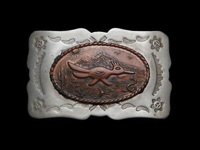 MG17122 GREAT VINTAGE 1970s ***ROADRUNNER*** SOUTHWESTERN DESIGN BELT BUCKLE