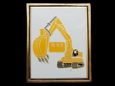 Mg11130 Vintage 1983 **cat Hydraulic Excavator** Caterpillar Solid Brass Buckle