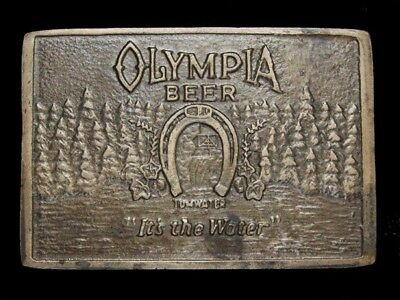 NF01154 VINTAGE 1970s **OLYMPIA BEER** BOOZE SOLID BRASS BARON BELT BUCKLE