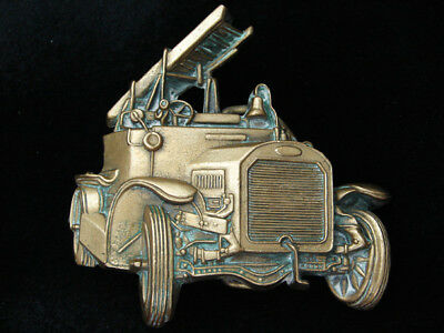 Pk11119 Vintage 1978 Cut-Out **antique Fire Truck** Solid Brass Baron Buckle