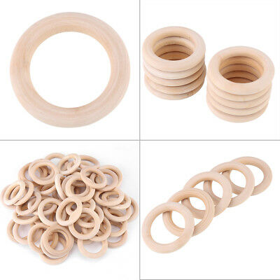 50pcs Unfinished Natural Wooden Round Rings Jewelry Making DIY Wood Craft 50mm