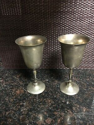 Set of 2 vintage EPNS Leonard Silverplated Wine Goblets