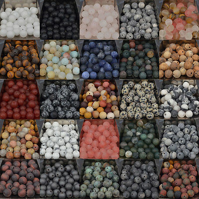 Natural Matte Frosted Gems Round Loose Unpolished Stone Beads 4mm 6mm 8mm 10mm