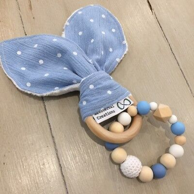 Wood & Silicone Beads,Crinkle Sound Bunny Ears Teething, Soother Ring, Blue