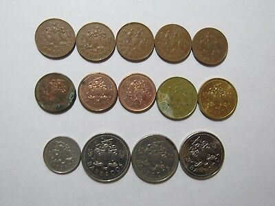 Lot of 14 Different Barbados Coins - 1973 to 2003 - Circulated & Brilliant Unc.