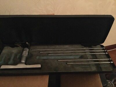 Vintage Moore & Wright  Depth Gauge Micrometer with 5 x Rods in Case