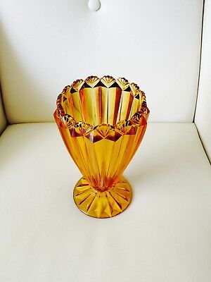 Vintage Large Honey Amber Depression Glass Vase Shell Pattern Circa 1932