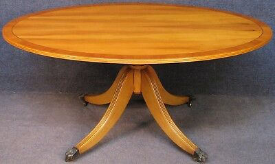 Reprodux Bevan Funnell Regency Style Large Yew Wood Oval Top Coffee Table