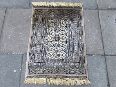 Old Traditional Hand Made Pakistan Oriental Wool Beige Brown Small Rug 88x64cm