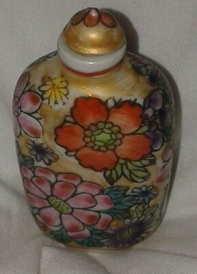 Hand Painted Chinese Snuff Bottle porcelain, leaf mark on the base see photos!
