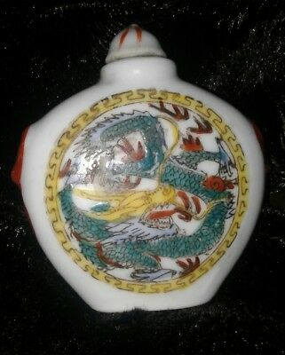 Porcelain Handpainted chinese Snuff Bottle clever Artwork please read descriptn