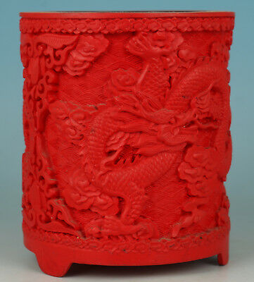 Chinese red Lacquer Handmade Carved Dragon Collect Statue Brush Pot