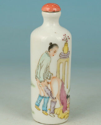 Chinese Porcelain Handmade Painting Behind Hug Girl Statue Snuff Bottle