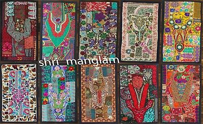 5 Pc Lot Handmade WallHanging Indian Cotton Patchwork Runner Tapestry 16X32Inch