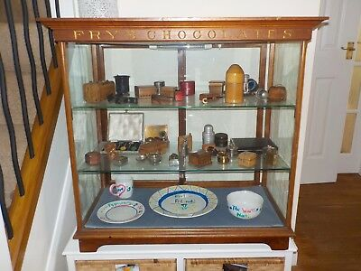 Original Vintage Edwardian Mahogany 'fry's' Chocolate Display Cabinet - Vgc