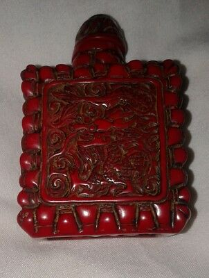 Chinese Heavy Resin Snuff Bottle Dragon Design Dark Red
