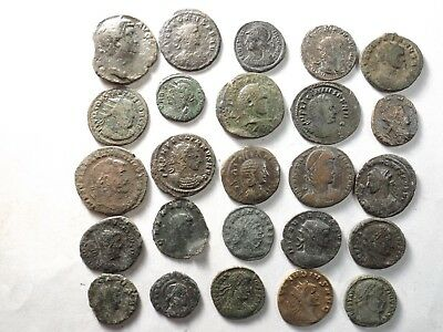 Lot of 25 Mixed Quality Ancient Roman Coins; Hadrian, Probus...; 79.3 Grams