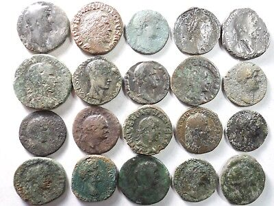 Lot of 20 Low Quality Larger Ancient Roman Coins; Hadrian,Vespasian; 166.5 Grams