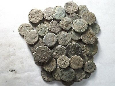 Lot of 50 Uncleaned Ancient Late Roman Coins; 101.9 Grams!