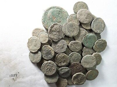 Lot of 50 Lower Quality Uncleaned Ancient Late Roman Coins; 120.3 Grams!
