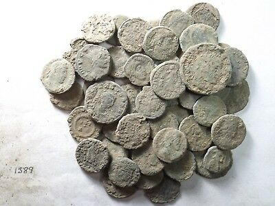 Lot of 50 Lower Quality Uncleaned Ancient Late Roman Coins; 96.7 Grams!