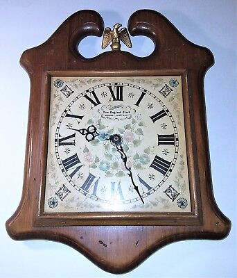 New England Clock Co.: Vintage Wood Wall Clock Eagle (Not Working)