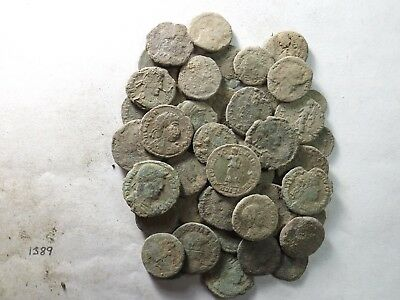 Lot of 40 Lower Quality Uncleaned Ancient Late Roman Coins; 83.0 Grams!