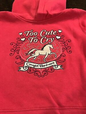 """Cowgirl Hardware Hoodie Sweatshirt """"Too cute to cry"""" 2T Hot Pink"""