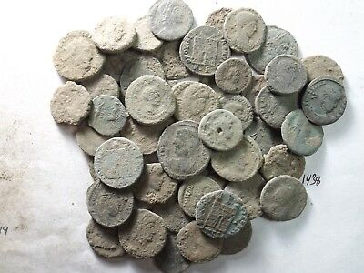 Lot of 50 Uncleaned Ancient Late Roman Coins; 112.7 Grams!