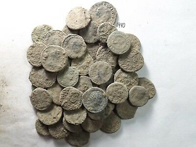 Lot of 50 Lower Quality Uncleaned Ancient Late Roman Coins; 124.0 Grams!