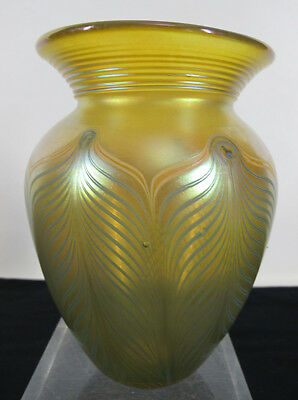 Antique Gold Iridescent Peacock Pulled Feather Hand Blown Art Glass Vase  yqz