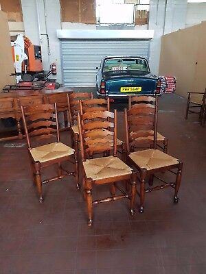Antique/reproduction Oak Set Of 6 Farmhouse Country Ladder Back Rush Seat Chairs