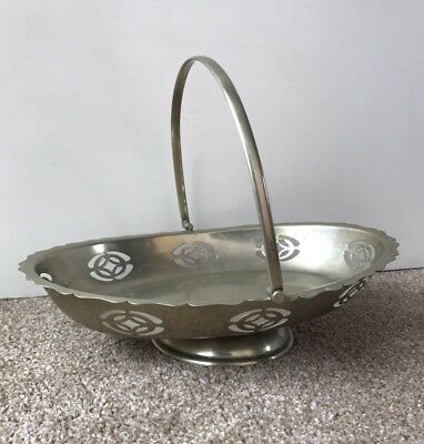 Antique Vintage Silver Plated Fruit Bowl Swing Handle Plate EPNS Oval Cake Stand