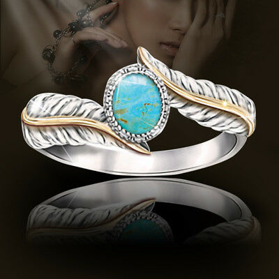 Women Silver Plated Turquoise Feather Ring Cocktail Party Wedding Jewelry Cheap