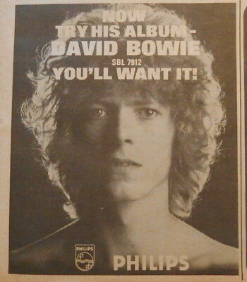 David Bowie : debut Philips album - Original advert / clipping from NME 1969